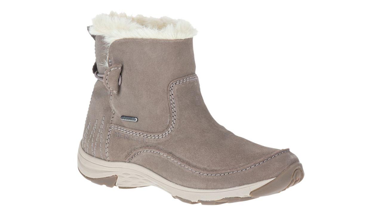 Foto de botas de invierno sin cordones grises con forro de piel blanca