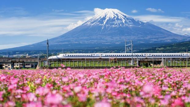 Un tren Shinkansen pasa zumbando cerca del monte Fuji.
