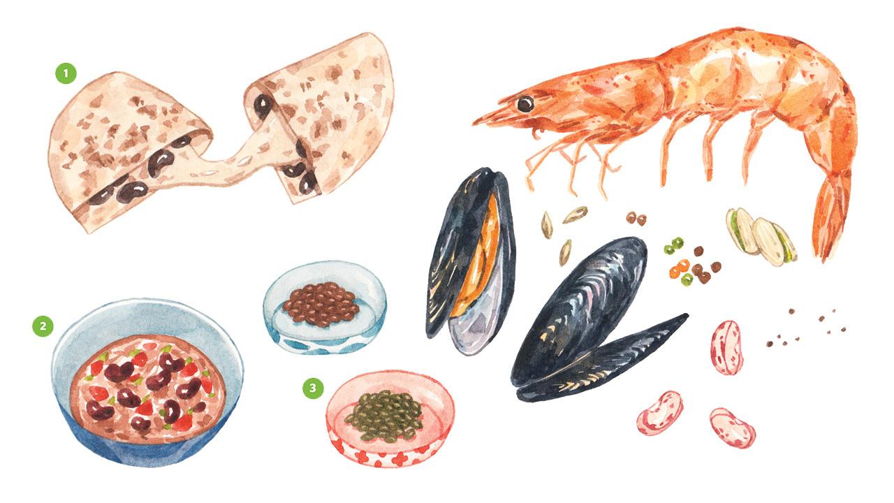 Ilustraciones realistas de camarones, mejillones, frijoles, lentejas, chile y quesadilla.
