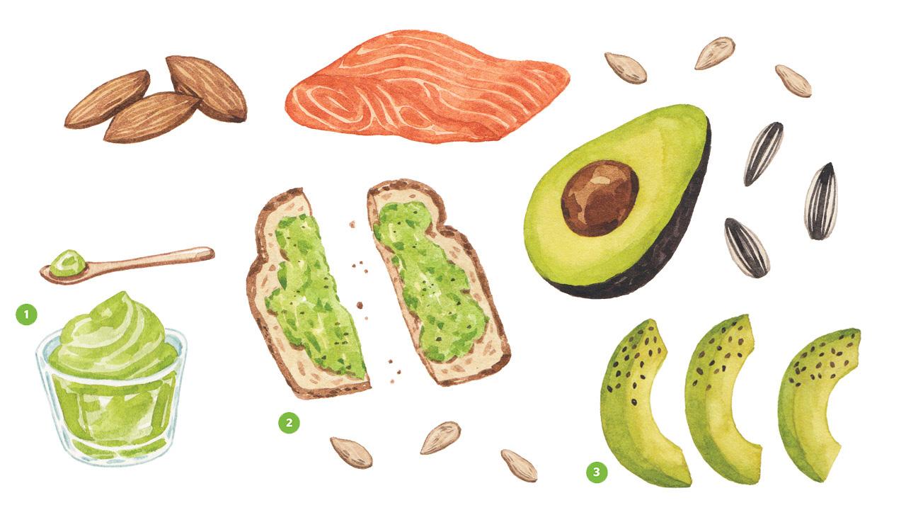 Ilustraciones realistas de almendras, salmón, aguacate, semillas de girasol, puré de aguacate, tostadas de aguacate y briznas de aguacate, todas con grasas saludables.