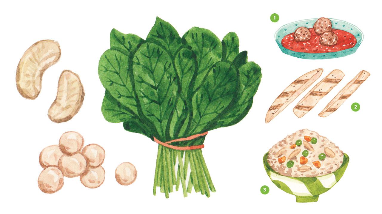 Ilustraciones realistas de anacardos, espinacas, albóndigas, tiras de pollo y arroz frito, todos con hierro.