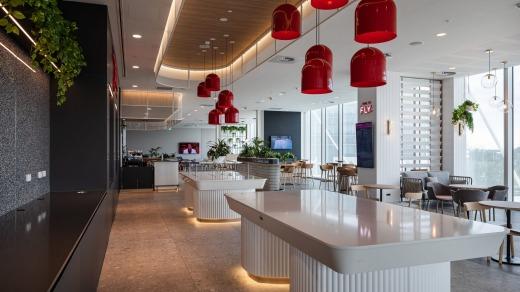 El nuevo salón de Virgin en el aeropuerto de Adelaida.
