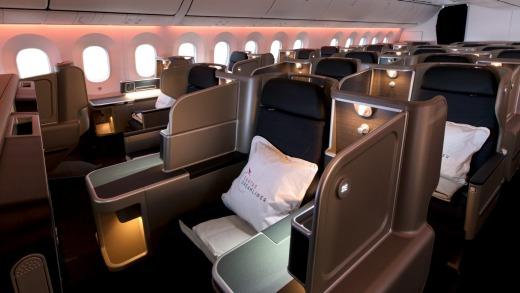 La cabina de clase ejecutiva del Qantas 787 Dreamliner.