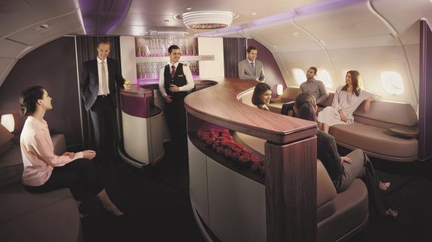 Sala VIP de clase ejecutiva del A380 de Qatar Airways.
