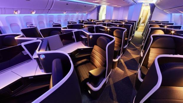Clase ejecutiva a bordo de un Boeing 777 de Virgin Australia.  La jefa de la aerolínea, Jayne Hrdlicka, dice que los viajes de negocios no ...